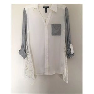Style & Co Roll-Sleeve Button Down Blouse White